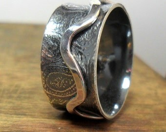Silver Spinning Wave and Paisley Wide Band Silver Ring  UK/Australia Sizes