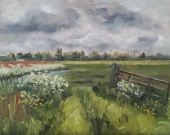 Fence Painting - Dutch Sky Painting - Original Oil Painting - Sky Fence Field Painting - Dutch Sky Painting - Netherlands Fence Oil Painting