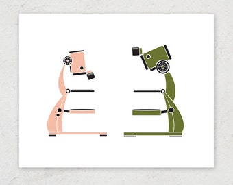 "Microscope Duo ""Microcrush"" Art Print - Science Art Print"