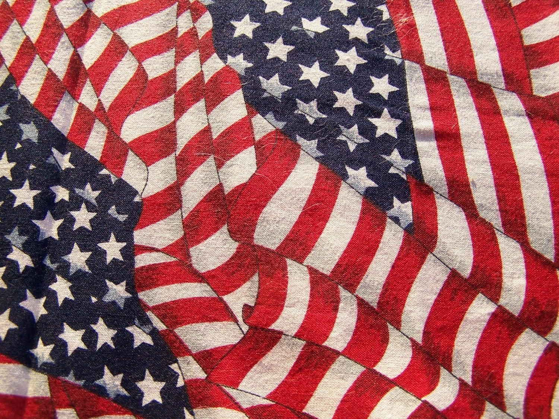 Vintage V.i.p Cranston Flag Print Fabric Quilt Crafts In