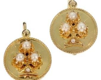 Round earrings, drop earrings, French earrings, yellow gold earrings, Victorian earrings gold, antique earrings gold, floral earrings gold