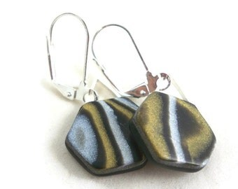 Sangle earrings polymer clay marbled black, gold, pearl