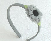 Girls Grey Felt Flower Headband, Toddler Headband, Grey Headband, Back to School Hair Accessories, Simple Every Day Headband for Young Girls