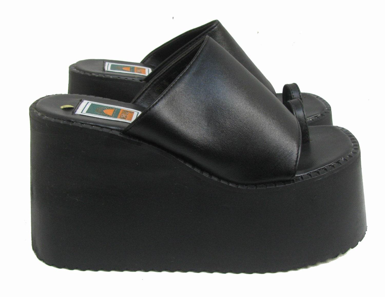 90s Mega Platform Sandals Womens Black Toe Ring Club Kid Slide