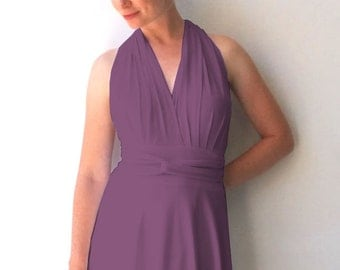 Convertible/Infinity Dress in color dark lavender with asymmetric hem  cocktail-length dress Multiway Dress