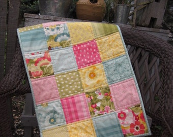 "QUILTED SQUARES TABLERUNNER, Bright Floral Fabrics, Pinks, Teals, Yellows, Greens, 18.5"" x 36.5"", Quilted Table Mat, Handmade, Ready To Ship"
