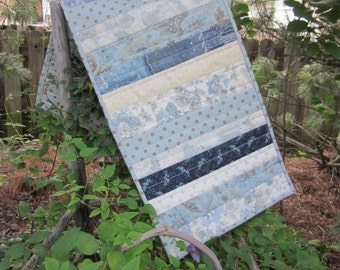 "BLUE Striped QUILTED TABLERUNNER, 12"" x 33"", Traditional, Country, Mix Of Several Blue Fabrics,"