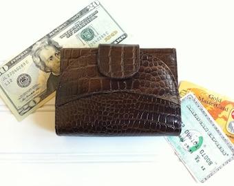 Croco Leather Wallet - Womens Wallet - Change Purse - Card Holder - Vintage Handbag