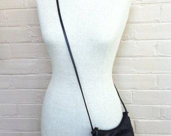 Black Leather Purse Wallet - Vintage Shoulder Bag - Crossbody Bag with Strap