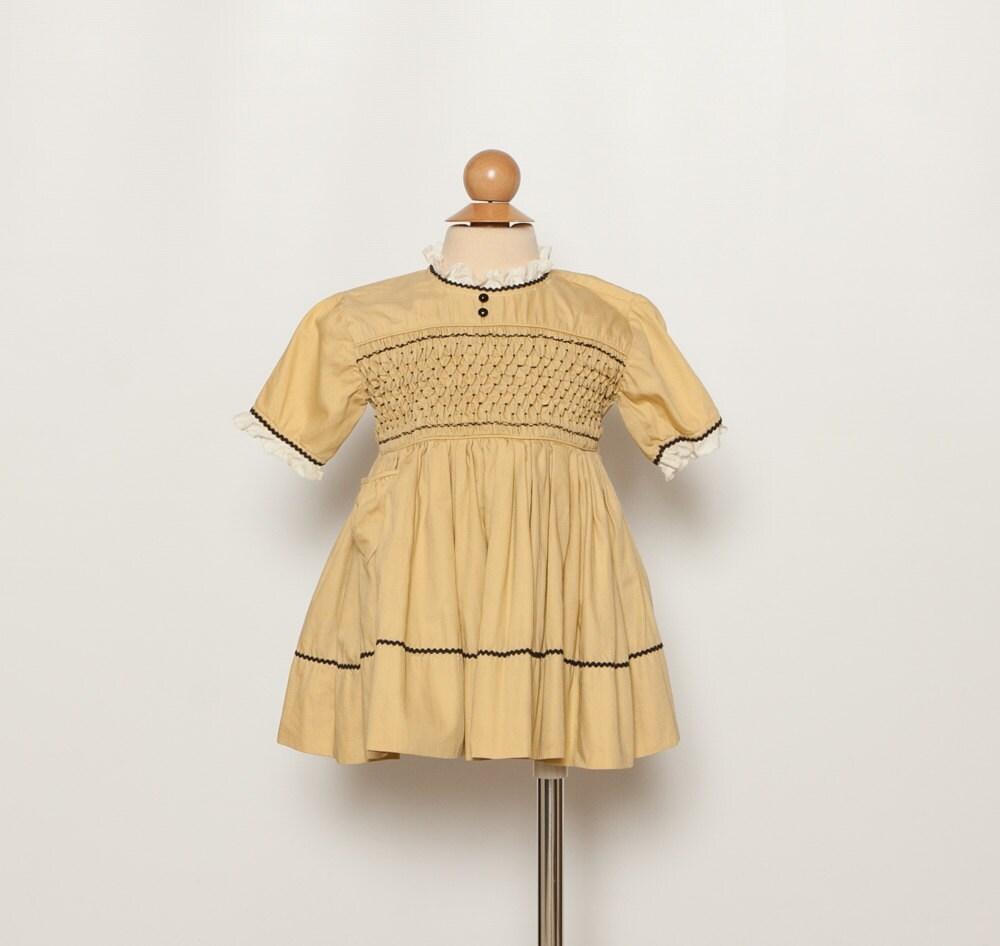 Polly flinders smocked dress with crinoline vintage 50s 60s