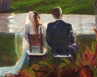 Maui Wedding Event Painting - 16x20, full scene with bridal couple and several figures