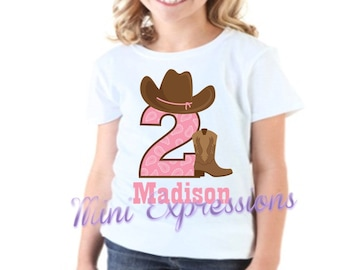 Cowgirl Birthday Shirt or Bodysuit Personalized With Any NAME and AGE
