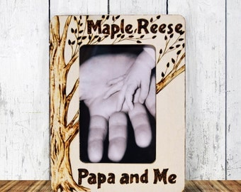 Rustic Papa and Me Picture Frame, Wood Burned, Personalized
