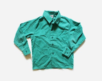 vintage shirt boys 80s childrens clothing teal green striped button down 1980s size 7