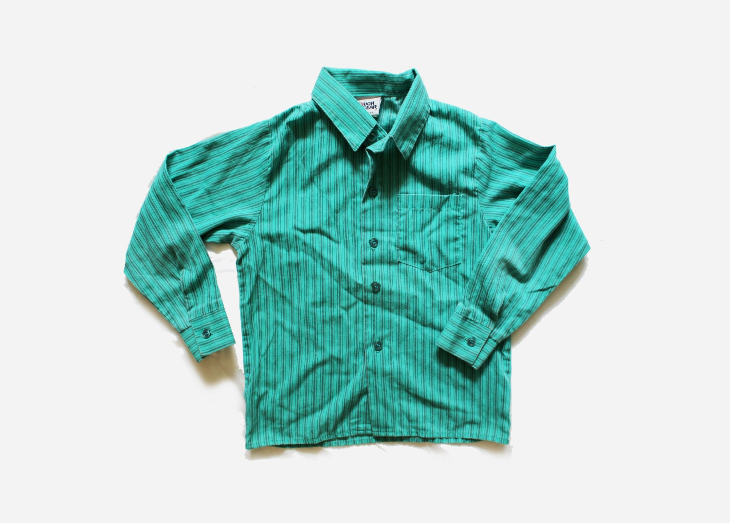 Vintage shirt boys 80s childrens clothing teal green striped for Boys teal t shirt