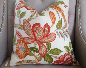 """Timothy Corrigan for Schumacher - Huntington Gardens in coral - 20""""X20"""" - Pattern on the front"""