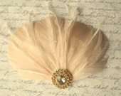 Champagne Bridal Fascinator, Champagne Wedding Hair Clip, Bridal Hair Clip, Wedding Fascinator, Feather Fascinator, Weddings, Champagne