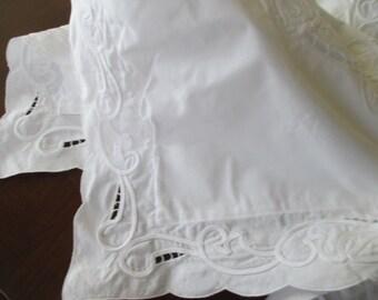 LARGE Shabby Chic White PILLOW SHAM - cotton, cut out lace