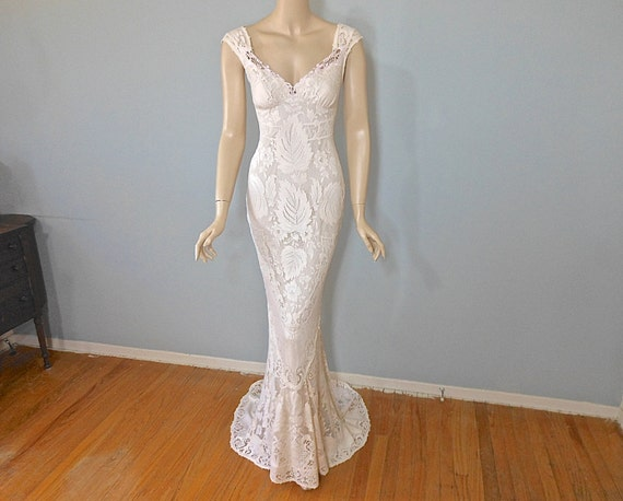 Cream Lace Backless Bohemian Wedding Dress Simple Wedding: MERMAID Lace Wedding Dress VINTAGE Inspired Boho By