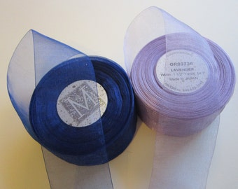 5 yards MIDORI ribbon - organdy ribbon - royal blue or lavender - your choice - 1.625 inches wide