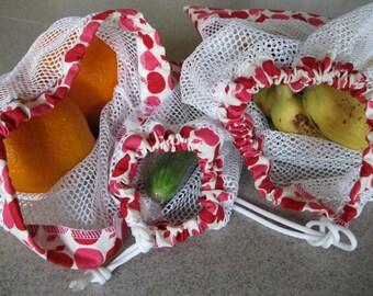 Vegetable/Produce Fruit Drawstring Bags - CSA compatible - READ FULL description, please