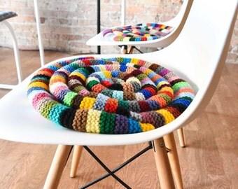 Chair Pad Cushion - Knitted Rocking Chair Pad - Comfy Chair Cushion - Eames Chair Pad