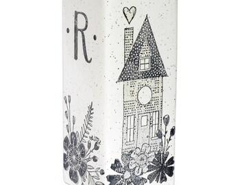5056hom-f Hand Painted Personalized Wedding Vase, Monogram Ceramic Vase Personalized New Home Vase, Monogram Wedding Vase, Housewarming Vase