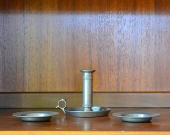 vintage danish modern pewter candle stick holders