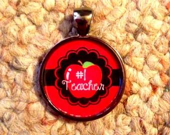 Teacher Gift #1 Teacher Pendant Necklace-FREE SHIPPING-