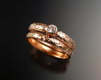 White Sapphire Wedding set 14k rose Gold Victorian bezel set Diamond substitute ring set made to order in your size