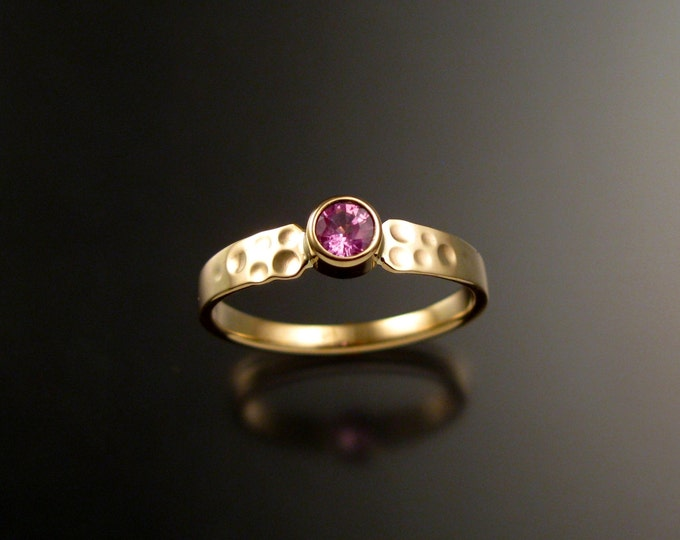 Pink Sapphire Wedding ring 14k Yellow Gold Pink Diamond substitute ring made to order in your size