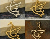 Large Peace Dove Bird Charm - C977, Peace, Doves, Choose From Sterling Silver, Natural Bronze, Gold Plated or Gold Plated Bronze