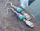 SALE - Buddha Head dangle Earrings - Yoga jewelry, Zen earrings, silver linear earrings, turquoise purple earrings