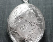 Large Puffed Sterling Silver Locket Necklace, Sunflower Engraved Flower 1962 Vintage Pendant - Tuscan