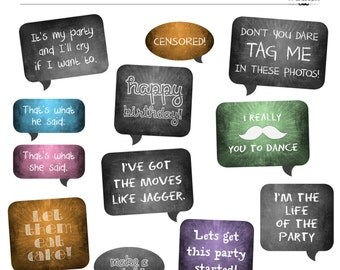 DIY Photo Booth Printables - Chalkboard Signs - BIRTHDAY