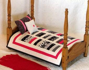 Doll Quilt, American Girl, Doll Blanket, Sasha, Gotz, Bedspread, Pillow, 18 inch Doll, Madame Alexander Kidz n Cats, Contemporary