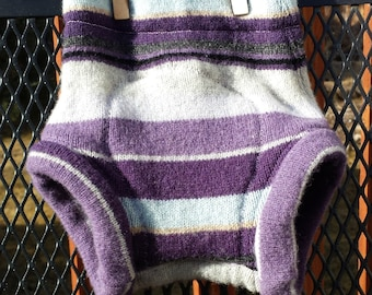 Upcycled Wool Diaper Cover, Soaker, small, extra layer, light blue, purple and lilac stripes