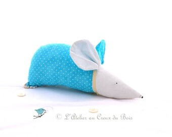 Decorative mouse, turquoise, kid room, baby room decor, baby shower, nursery