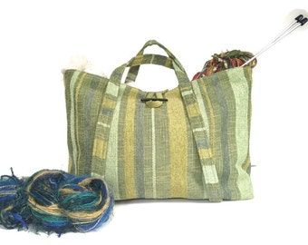 Green Upholstery Tote Knitting Bag Project Organizer Travel Tote Bag Plaid Lining Inside Pocket Fabric Bag Knitting Storage Bag