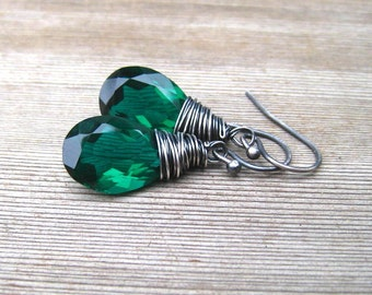 Emerald Green Earrings AAA Quartz Trillion,  Hand Wire Wrapped in Sterling Silver,  May Birthstone