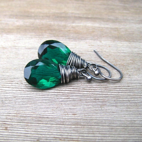 Emerald Green Quartz Earrings Wire Wrapped in Sterling Silver