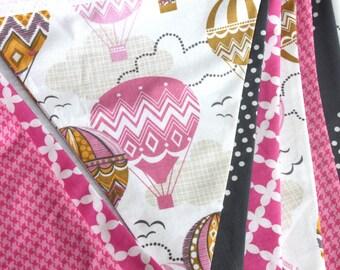 Hot Air Balloon Banner - Hot Air Balloon Bunting - Pink and Gold Bunting - First Birthday Banner