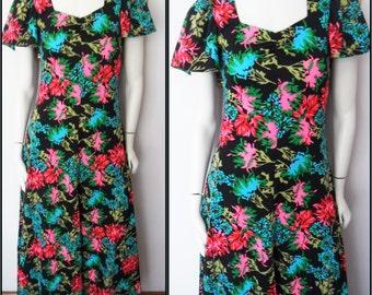 Vtg.70s Black Neon Floral Psychedelic Print Maxi Dress.S.Bust 34-36.Waist 28-32