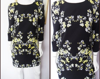 Vtg.60s Black Yellow Grey Floral Print Shift Mini Dress.M.Bust 36-38.Waist 34.Hips 40.