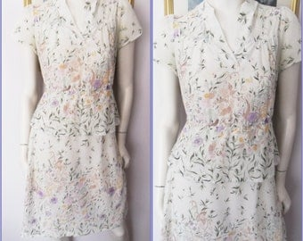 Vtg.70s White Purple Floral Print Sheer Petal Split Sleeve Peplum Skirt Midi Dress.M.Bust 38-40.Waist 26-32