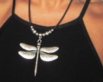 Dragonfly necklace, dragonfly jewelry, Women necklace, beas necklace, silver necklaces for women, dragonfly charm, sterling silver necklace