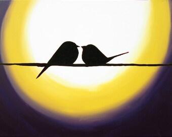 "canvas art Original Tree Landscape Giclee Art Print ""Birds over new moon"" silhouette art owl decor contemporary art starry night a3 a4 print"