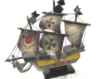 Wood Nautical Ship Model, Vintage Painted Nina Ship with Canvas Sails (DB3)