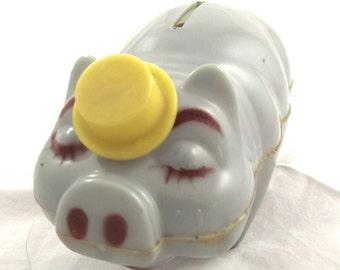 Celluloid Piggy Bank, Vintage Light Blue Plastic Pig with Moving Top Hat (A3)