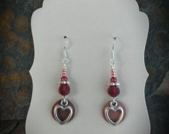 Copper Red Heart Sterling Silver Earrings, Copper Silver Red Heart Sterling Earrings